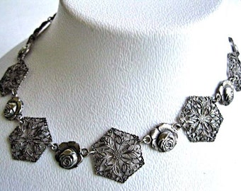 Silver Roses Vintage Choker, Lacy Filigree Flower Links, Rosebud Blossom Spacers, Dark Silvertone