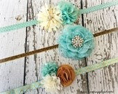 DIY Baby Headband Kit - Mint/ Aqua, Gold, and Ivory - Makes 3 high end boutique baby headbands! DIY Gorgeous Flower Headband Luxe Supply Co.