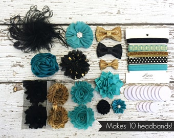 "DIY Headband Making Kit Glam & Chic Teal, Black, and Gold - New Year's ""Cue the Confetti"" First Birthday Party - MAKES 10 or 20+ HEADBANDS!"