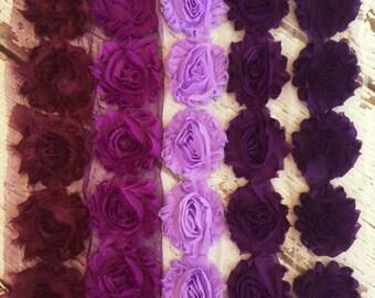 Shabby Chiffon Flower Trim - Your Choice of Color And Quantity! PURPLE SCHEME - 1/2 yard or 1 yard - Grape - Lavender - Violet - Plum