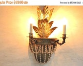 On Sale Handpainted Gold Chandelier, 2 Arms, Gold Sconce, Home and Living, Salvaged, Shabby Chic Cottage Decor