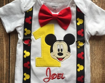 Custom boys first birthday Mickey Mouse bodysuit with suspenders and bow tie