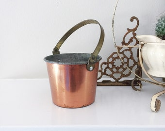 Vintage Miniature Copper and Brass Handle Bucket for Home Decor or Prop Display
