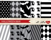 80% off Digital SCRAPBOOKING Paper Pack HALLOWEEN Black & White