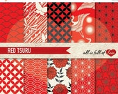 80% off JAPANESE Digital Paper Pack Tsuru RED & BLACK Printable Scrapbook Background Patterns Instant Download Chinese New Year Paper