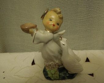 Vintage Angel with Geese Figurine 1950s
