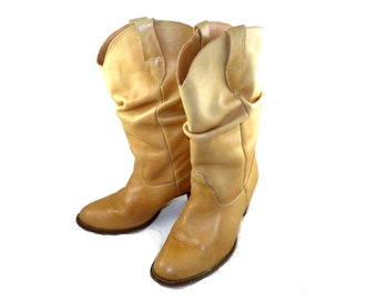 Caramel brown leather scrunch style 1980s cowboy boots -  western ladies 8 M tan rugged