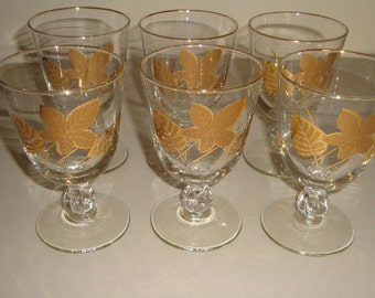 Bar Glasses Gold Leaves Golden Foliage by Libbey Gold Leaf Barware Cocktail Wine Water Martine Glasses Set of 6 Wedding Christmas Serving