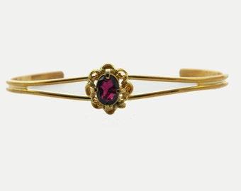 Amethyst Flower Cuff Bracelet - BR002