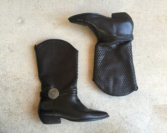 Vintage Woven Black Leather Western Boots // Women's size 5.5 6
