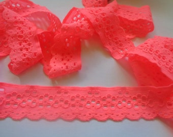 Stretch Eyelet Lace Trim, Orange Pink, 1 1/8 inch wide, 1 yard, For Apparel, Accesories, Scrapbook, Home Decor, Victorian & Romantic Crafts