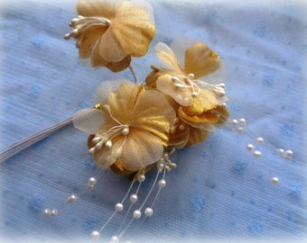 Bridal Flower Cluster Stem Pack of 6, Gold, For Bridal, Apparel, Accessories, Home Decor, Victorian & Romantic Crafts