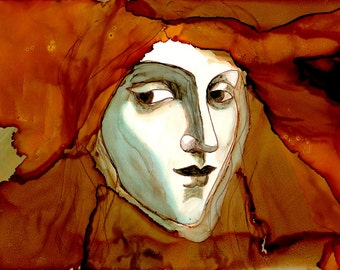 """Ink Painting, """"Lady in Waiting"""", print, matted, backed, ready for framing"""