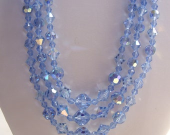 Three Strand Blue Aurora Borealis Crystal Necklace Perfect Something Blue for the Bride