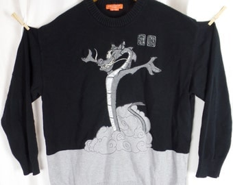 Vintage ICEBERG X DISNEY  Mushu the dragon in clouds from Mulan cotton novelty sweater/black silver grey: size XXXL hip hop style
