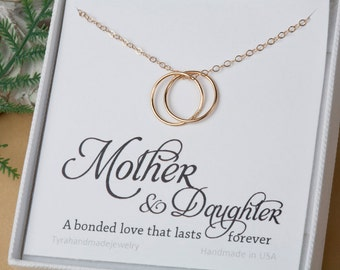 Mother daughter love Karma necklace,Eternity,Circle,Gift For Mom, To Mom From Daughter Mother's Necklace, Karma necklace with note card