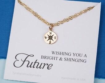 Sale-Compass charm Bracelet with note card,Graduation Gifts,compass charm,sisterhood,bridesmaid gifts,Friendship bracelet