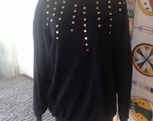 Black Sweatshirt Gold Stud Metal Queen