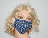 Fashionable face mask, blue tartan, washable, warm mouth mask, high quality, unisex, by Mouthshutters
