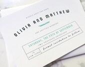 FLAT SAMPLE | Wedding Invitation | Simple Wedding Invitation | Modern Wedding Invitation | Horizontal Wedding Invite | Turquoise Invite