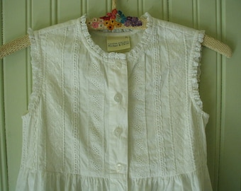 Vintage Little Girl's Dress, Size 9, Possible Bride's Maid Dress, White Long Sleeveless, Laura Ashley