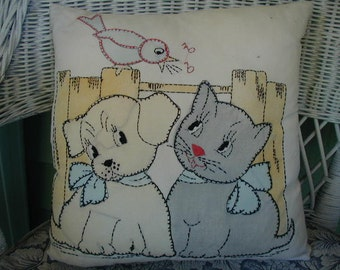 Adorable Vintage Toss Pillow, Occasional Pillow, Puppy, Kitten and Bird, Hand Made, Hand Embroidered