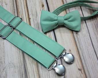 Sage Green Bow Tie and Suspenders set ( Men, boys, baby, toddler, infant Suspender and Bowtie ) outfit