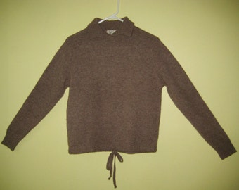 SHETLAND SWEATER SCOTLAND 100% Wool Edinburgh Woolen Mills Collar Drawstring Waist Ladies Size 38 97cm Medium