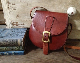 Rustic Brown Leather Handbag Satchel Crossbody Saddle Bag