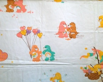 Retro 80s Vintage Care Bears Fabric 2+ Yards Hearts and Balloons On White American Greetings Cotton Blend Beary Cute Bright Fun!