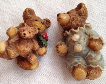Two Cute Resin Bear Brooches