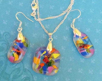Confetti Fused Glass Pendant and Earrings Set in Sterling Silver