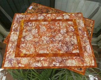 Quilted Placemats Orange Gold Brown Batik 473