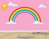Sun and Rainbow Wall Decal Stickers