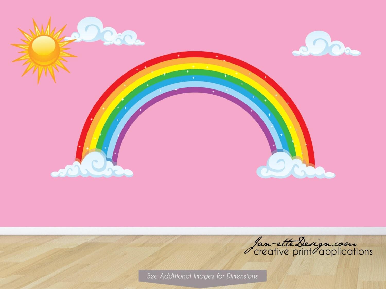 Rainbow Wall Decor Stickers : Sun and rainbow wall decal stickers