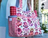 Large Diaper Bag, Large tote, Shoulder Purse, Girls Bag, Baby Shower Gift in Amy Butler Bright Heart Folk Bloom, Red Pink Flower Polka Dot.