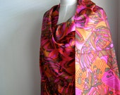RESERVED FOR RUBINA; 1960s Psychedelic Silk Fabric, Dress Length, Pink, Orange - Vintage Dressmaking Fabric, 3.4 Metres/11.15 Feet Length