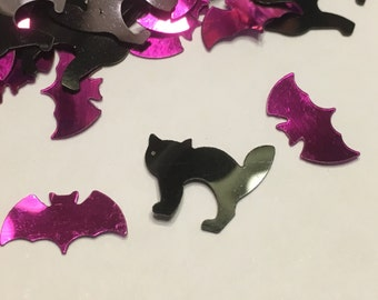 small / tiny black cat purple bat sequins / confetti, 10 - 15 mm (31)