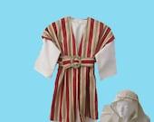 Boy's Shepard Red striped robe costume, head scarf sz. 6-10