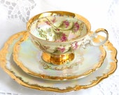 RESERVED  for QI -lusterware tea cup trio pink roses tea cups iridescent teacup floral pearlized tea cup pink roses tea cup 836