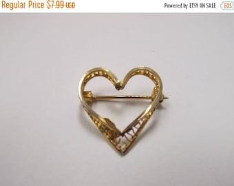 ON SALE Vintage Gold Filled Open Work Heart Pin Item K # 2183