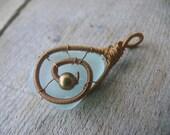 Sea glass pendant, Birthday gift pendant, brown copper wire, genuine sea glass aqua sea foam, wire wrapped pendant, metal beads jewelry