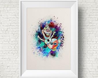 Olaf the Snowman, Frozen ART PRINT illustration, Disney, Mixed Media, Home Decor, Nursery, Kid