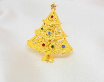 Holiday Sale Christmas Tree Brooch By JJ Gold and Rhinestone