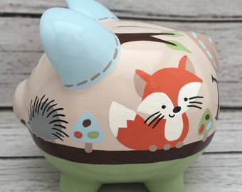 Personalized Piggy bank, Forest Friends artisan hand painted ceramic bank ~ fox, deer, hedgehog