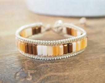 Balance rods mix brown crystal wrap bracelet.