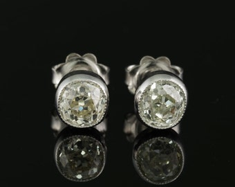 Art Deco 1.80 Ct wheighted old cut diamond stud earrings