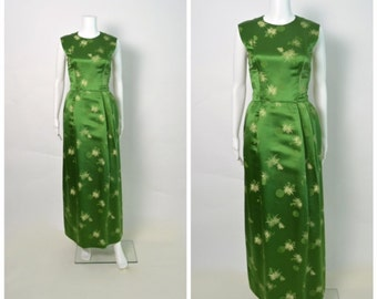 1960s 60s Vintage Silk Dress Evening Gown Asian Green Hourglass Bombshell