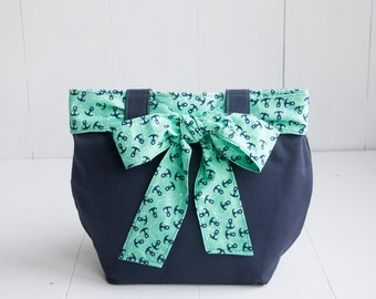 Navy Canvas Handbag with Anchor Bow-Turquoise and Navy-Medium Purse-Nautical