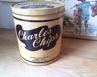 Vintage Charles Chips Potato Chip Tin Can